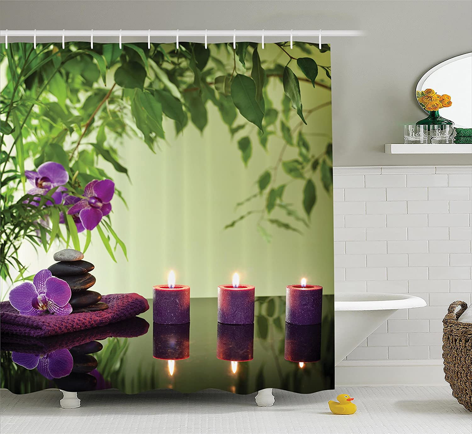 Ambesonne Spa Decor Shower Curtain Set, Zen Stones Aromatic Candles and Orchids Blooms Treatment Vacation, Bathroom Accessories, 69W X 70L Inches