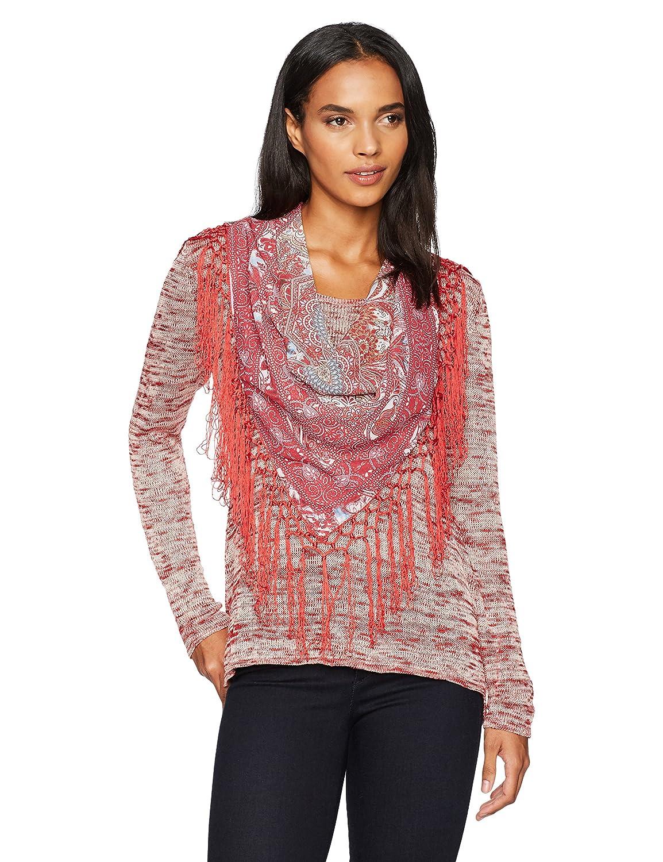 OneWorld Women's Plus Size Long Sleeve Sweater With Fringe Scarf