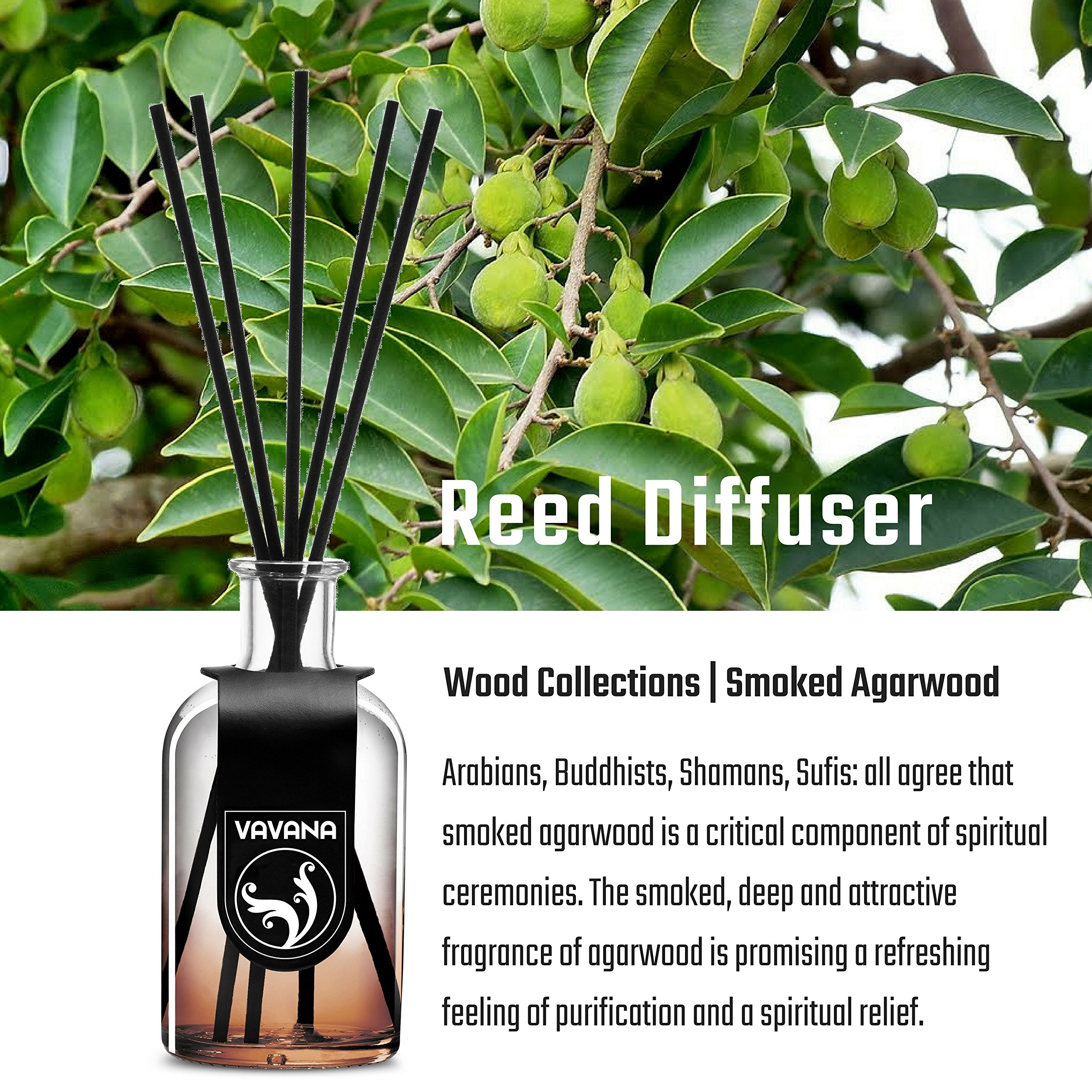 VAVANA Aromatherapy Diffuser Sticks   Reed Diffuser Set   Aromatic Home Fragrance Set   Essential Oil Diffuser Sticks, Made of Natural Scented Oils Blend   100 ML/3.4 OZ - 6 Pack (Smoked A.Wood) by vavana (Image #8)
