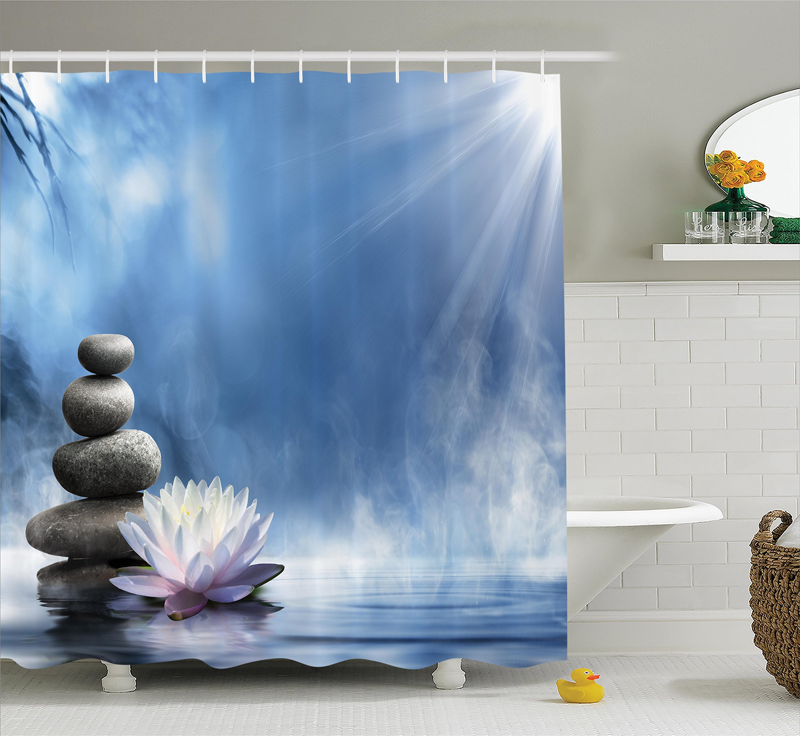 Ambesonne Spa Decor Collection, Purity of the Zen Massage Magic Lily Stones Sunbeams Spirituality Serenity Picture Print, Polyester Fabric Bathroom Shower Curtain Set with Hooks, Blue Dimgray