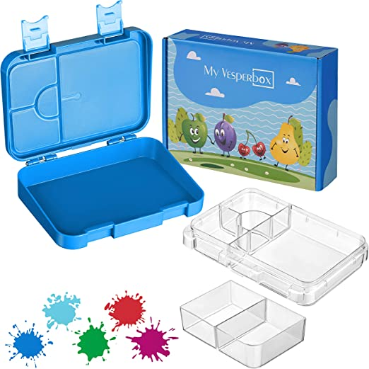 Fiambrera con 4 2 compartimentos antigoteo y apto para lavavajillas para ni/ños y adultos My Vesperbox Bento Box resistente