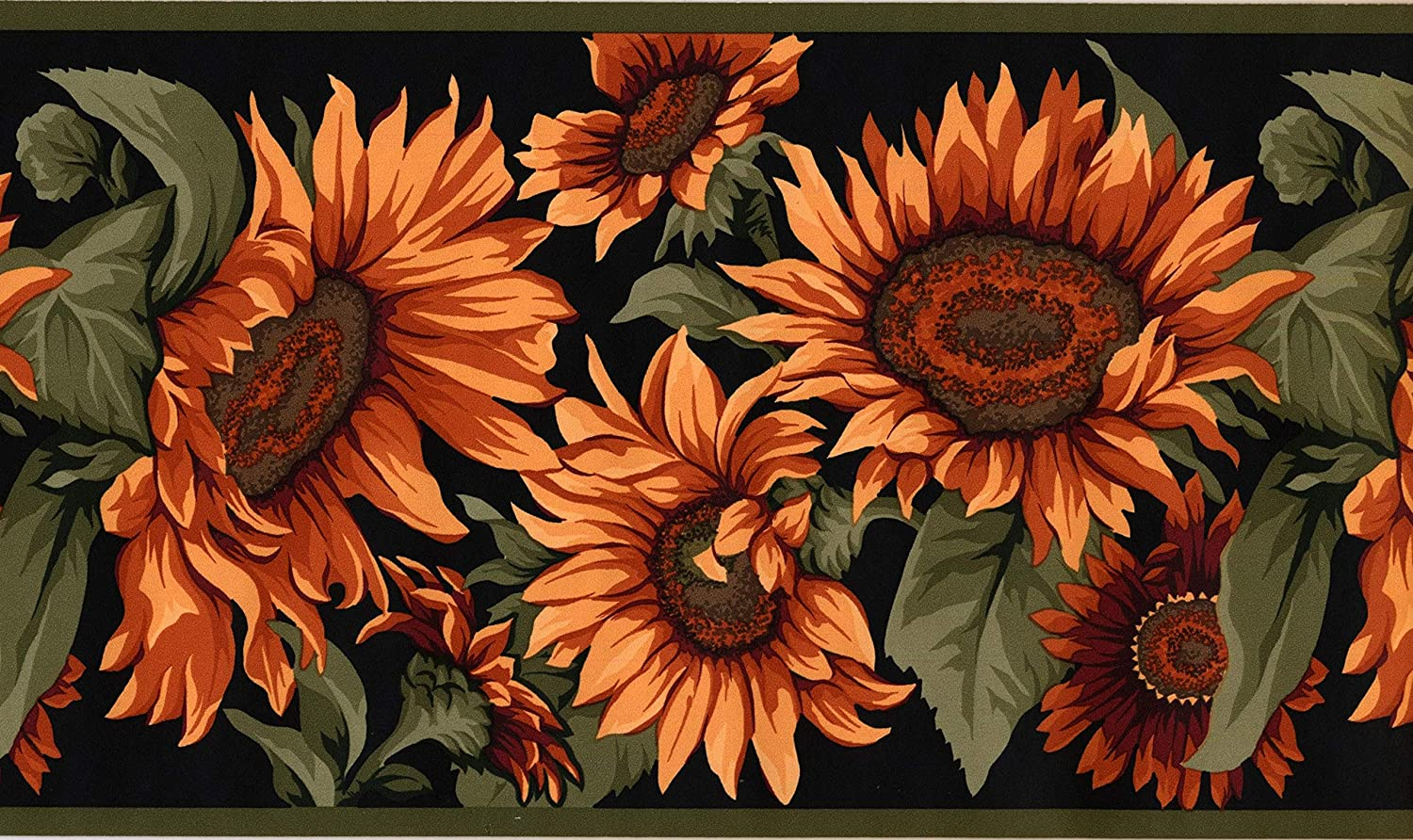 Wallpaper Border Sunflowers Green Red Black Classic 15 X 7 Md102b Amazon In Home Improvement