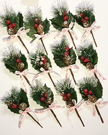 12 Pcs Packs Artificial Pine Picks Christmas Decorations,Christmas Holly  Leaf Picks Sprays with Red - Amazon.com: 12 Pcs Packs Artificial Pine Picks Christmas Decorations