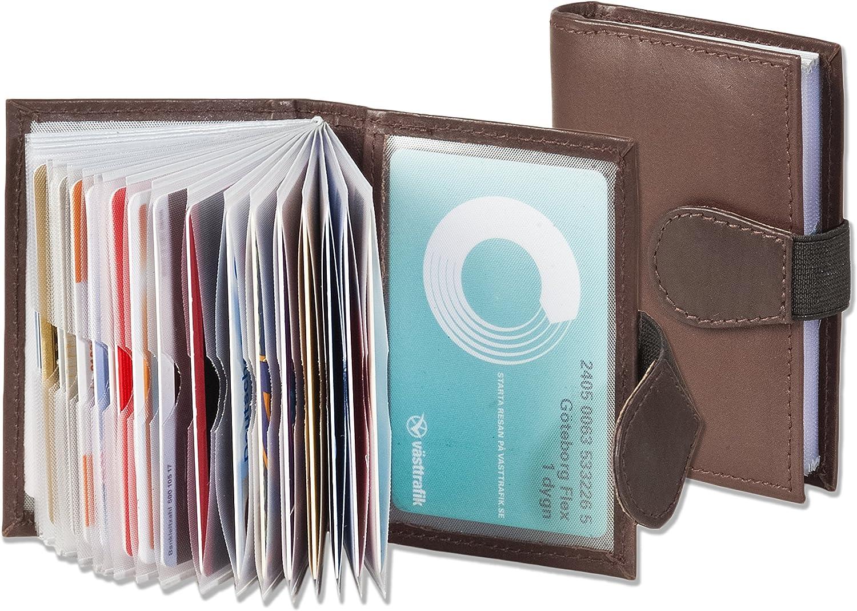 Rimbaldi Titulaire XXL en cuir veau de carte de cr/édit avec 24 compartiments pour cartes en cuir souple de veau trait/ée