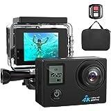 4K WIFI Action Camera Ultra HD Waterproof Sport Camera 16MP 173 Degree Wide Angle, Free Travel Bag (black) (black)