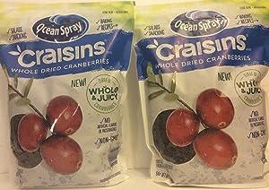 Ocean Spray Craisins ( 2 PACK SUPER SAVER ) Whole & Juicy Dried Cranberries Non-GMO 64 Oz Each Releasable Bag