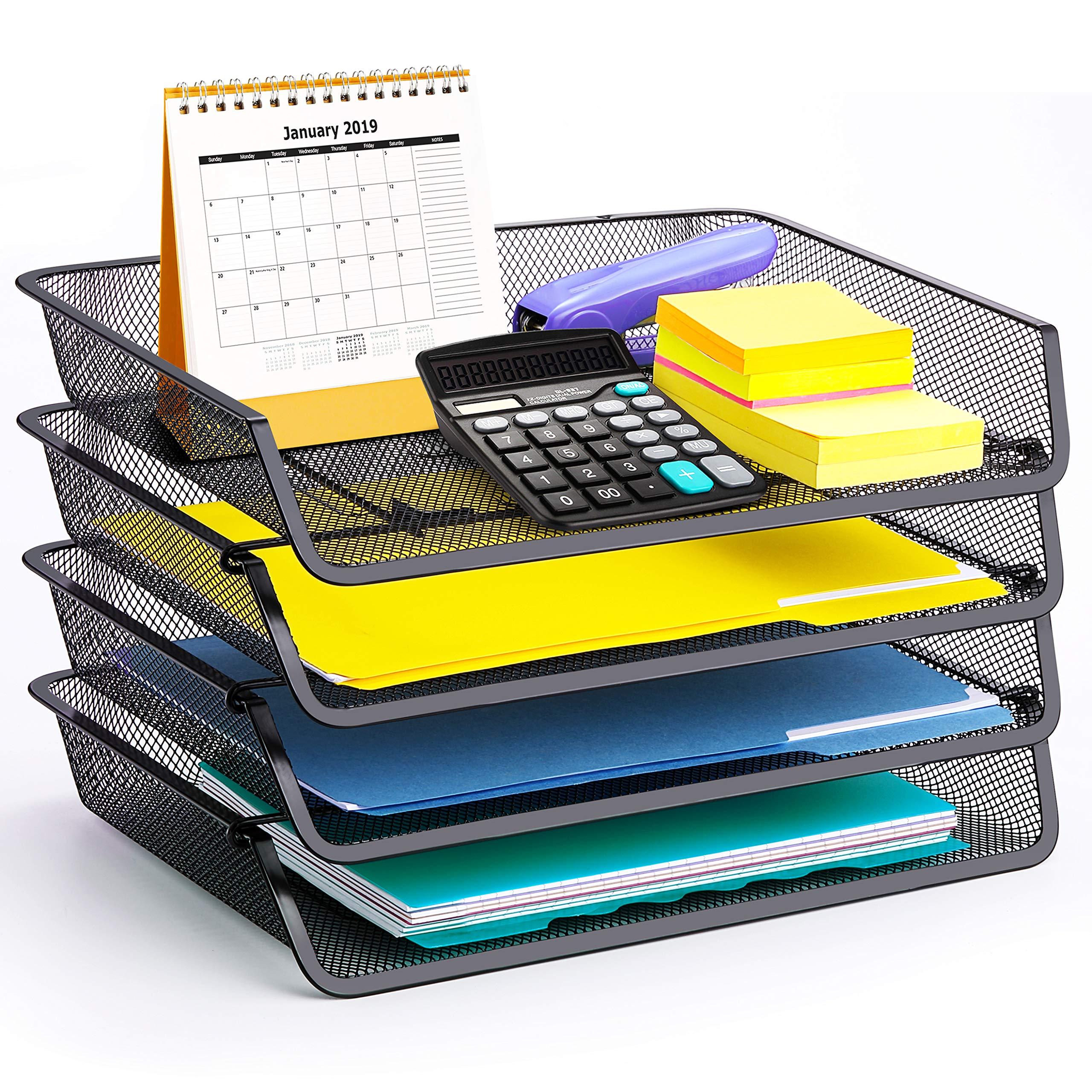 4 Pack - Simple Trending Stackable Office Desk Supplies Organizer, Desktop File Letter Tray Holder Organizer, Black by Simple Trending