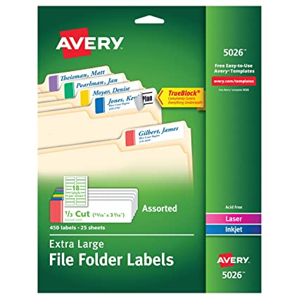 avery extra large file folder labels in assorted colors for laser