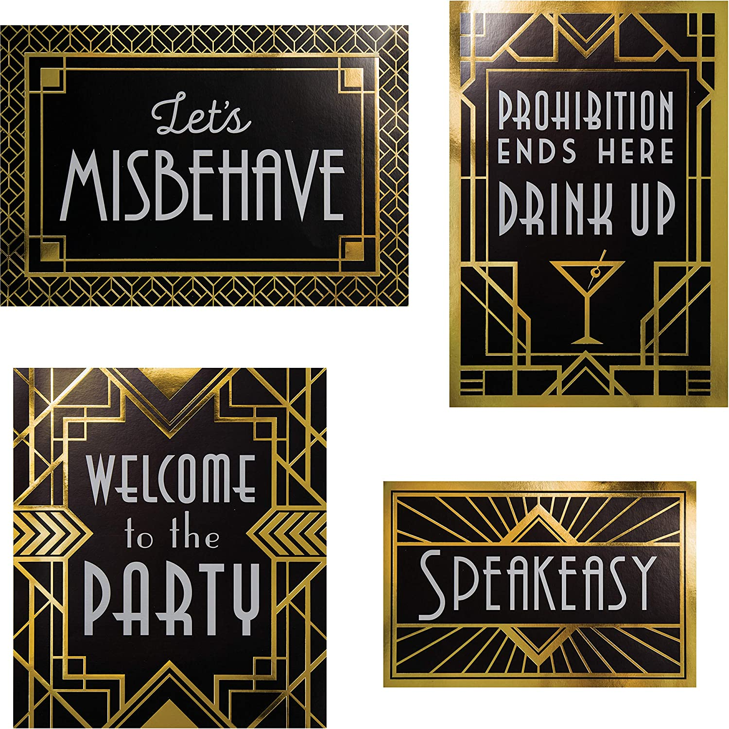 """Creative Converting Wall Signs Decorations Kit, 10"""" x 6.5"""", 10"""" x 11.5"""", 13"""" x 9"""", Black and Gold"""