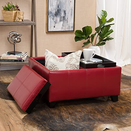 Christopher Knight Home Justin Red Leather Tray Top Storage Ottoman