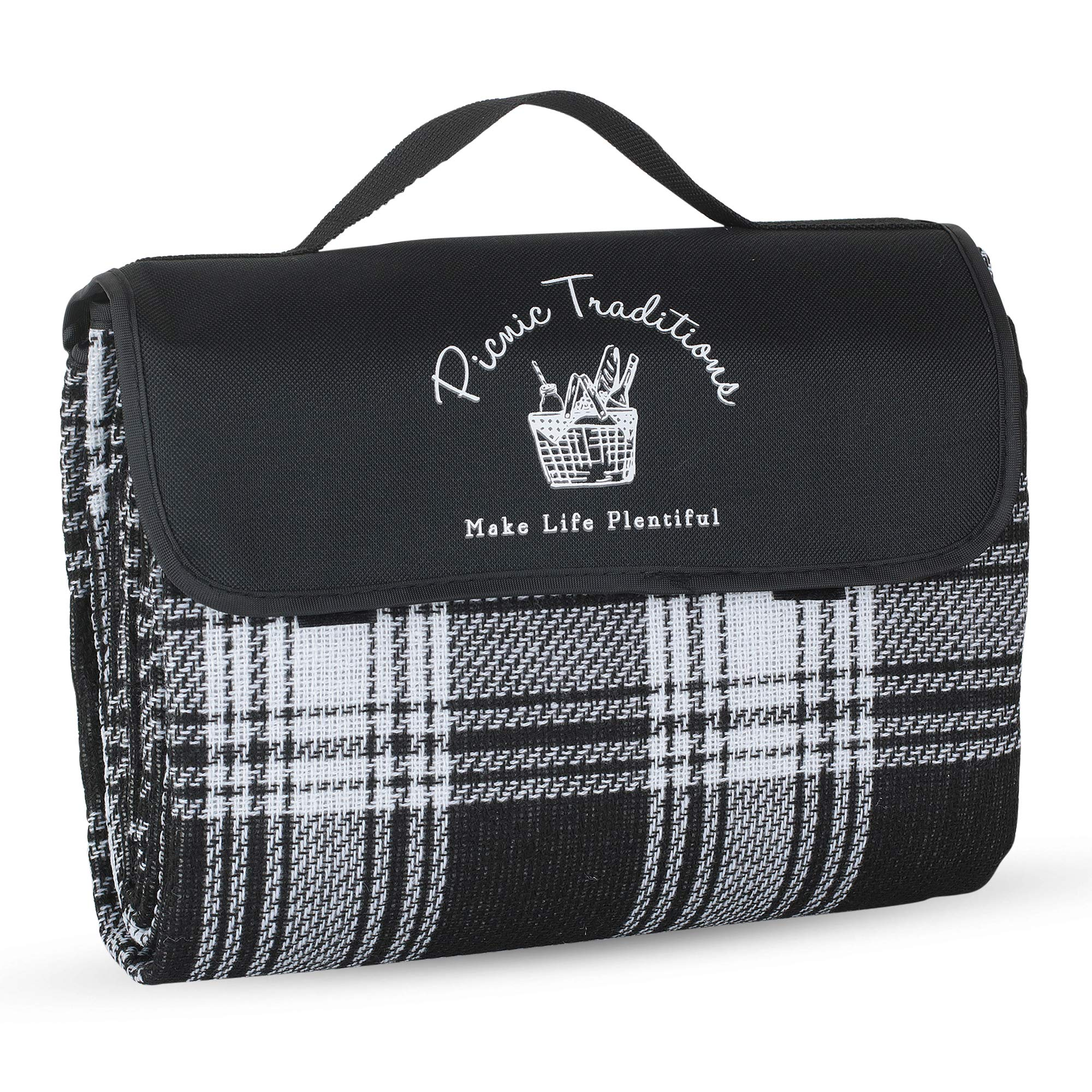 Picnic Traditions Large Picnic Blanket Water Resistant Tote - Great for Picnics, Camping on Grass, at The Beach, Tailgating at Stadiums, Durable Mat has Waterproof PEVA Backing - 69 x 53 in. (Black) by Picnic Traditions
