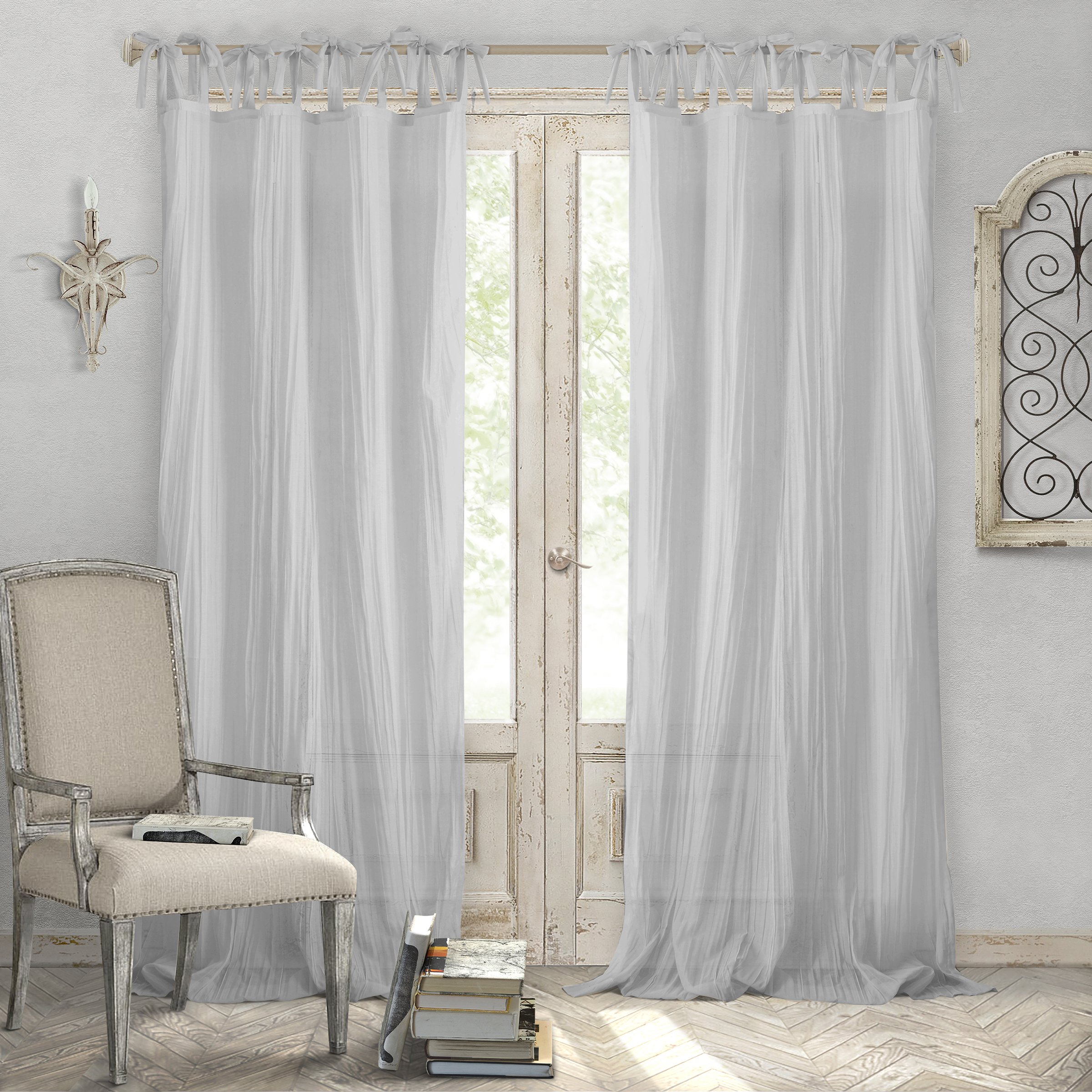 Elrene Home Fashions Crushed Semi-Sheer Adjustable Tie Top Single Panel Window Curtain Drape, 52'' x 95'' (1, Gray