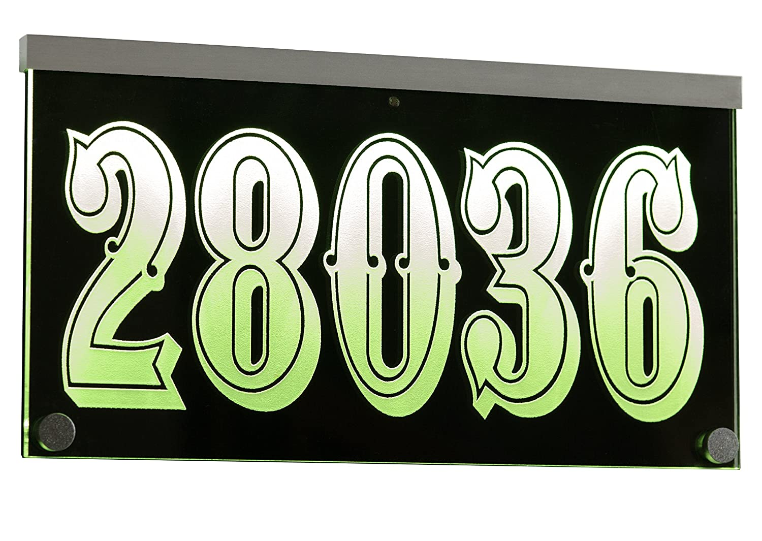 12V DC Illuminated Address Sign Plaque House Numbers LED Lighted - Laser Engraved On Acrylic Sign with Remote Control, Auto On/Off Henry Chou