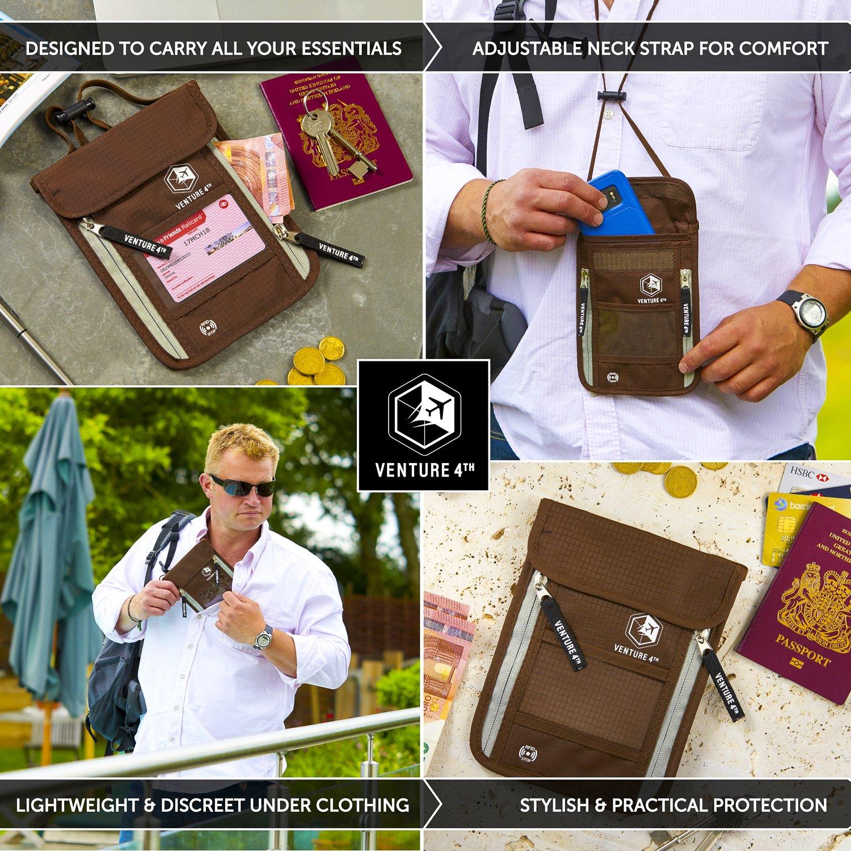 Venture 4th Passport Holder Neck Pouch With RFID – Safety Passport Pouch (Brown) by VENTURE 4TH (Image #4)