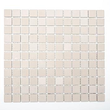 Fliesen Mosaik Mosaikfliese Bad Küche WC Keramik Quadrat Beige 6mm R10 Neu  #245