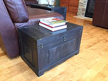 Newport Medium Wood Storage Trunk Wooden Treasure Chest   Black