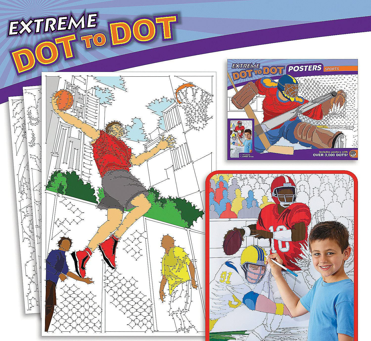 Sports MindWare Extreme Dot to Dot Coloring Posters Set