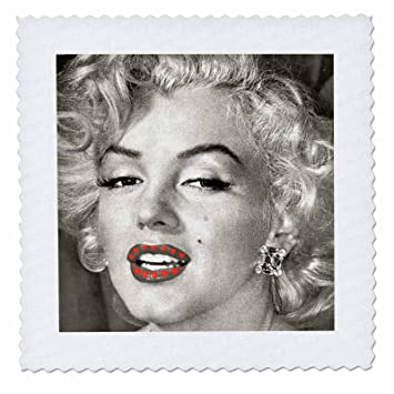 3d rose portrait of marilyn monroe black and white read hearts quilt square 6 x