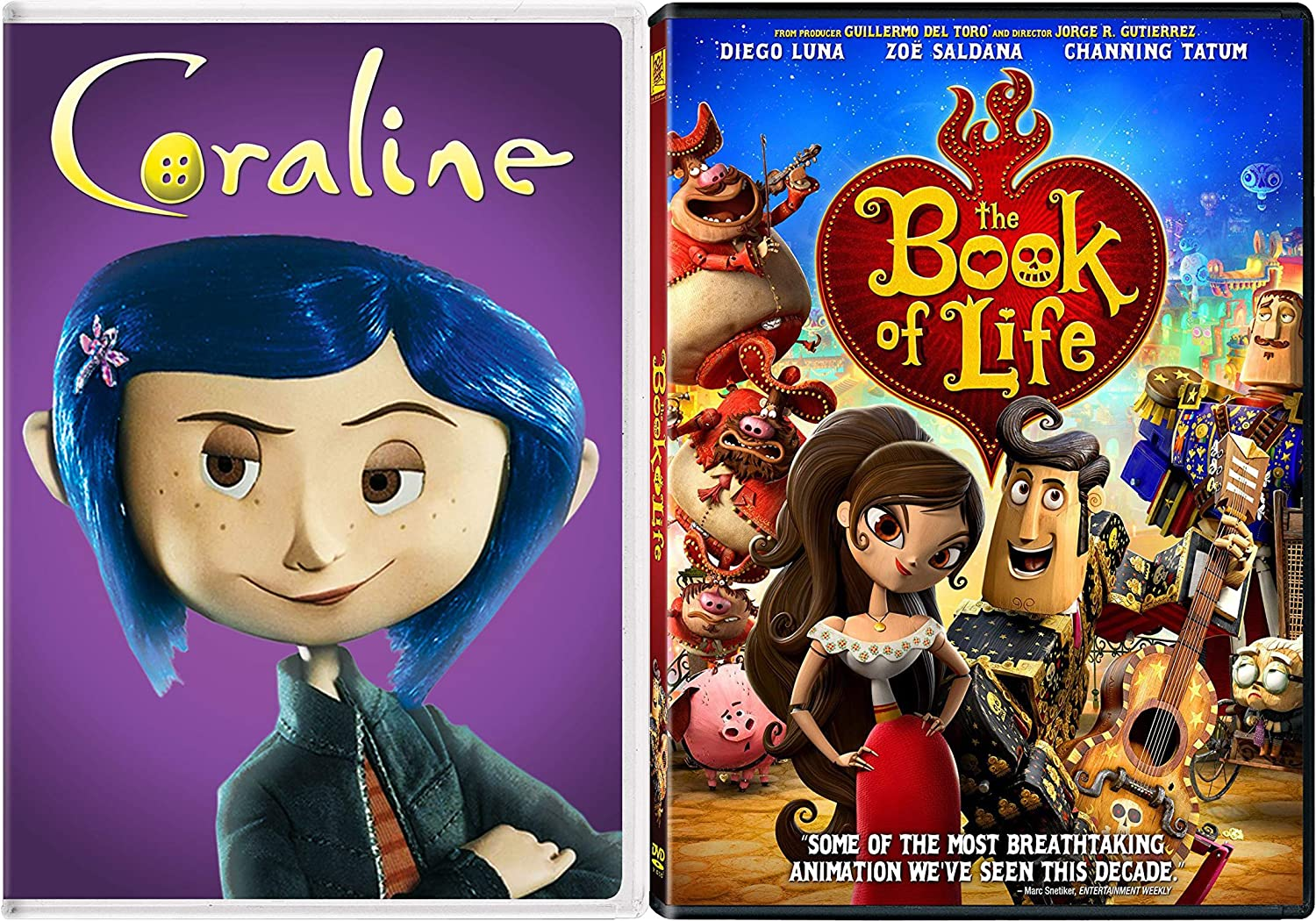 Amazon Com Button Animated Fun With Henry Selik S Coraline Jorge R Gutierrez S The Book Of Life 2 Dvd Double Feature Cool Movie Bundle Movies Tv