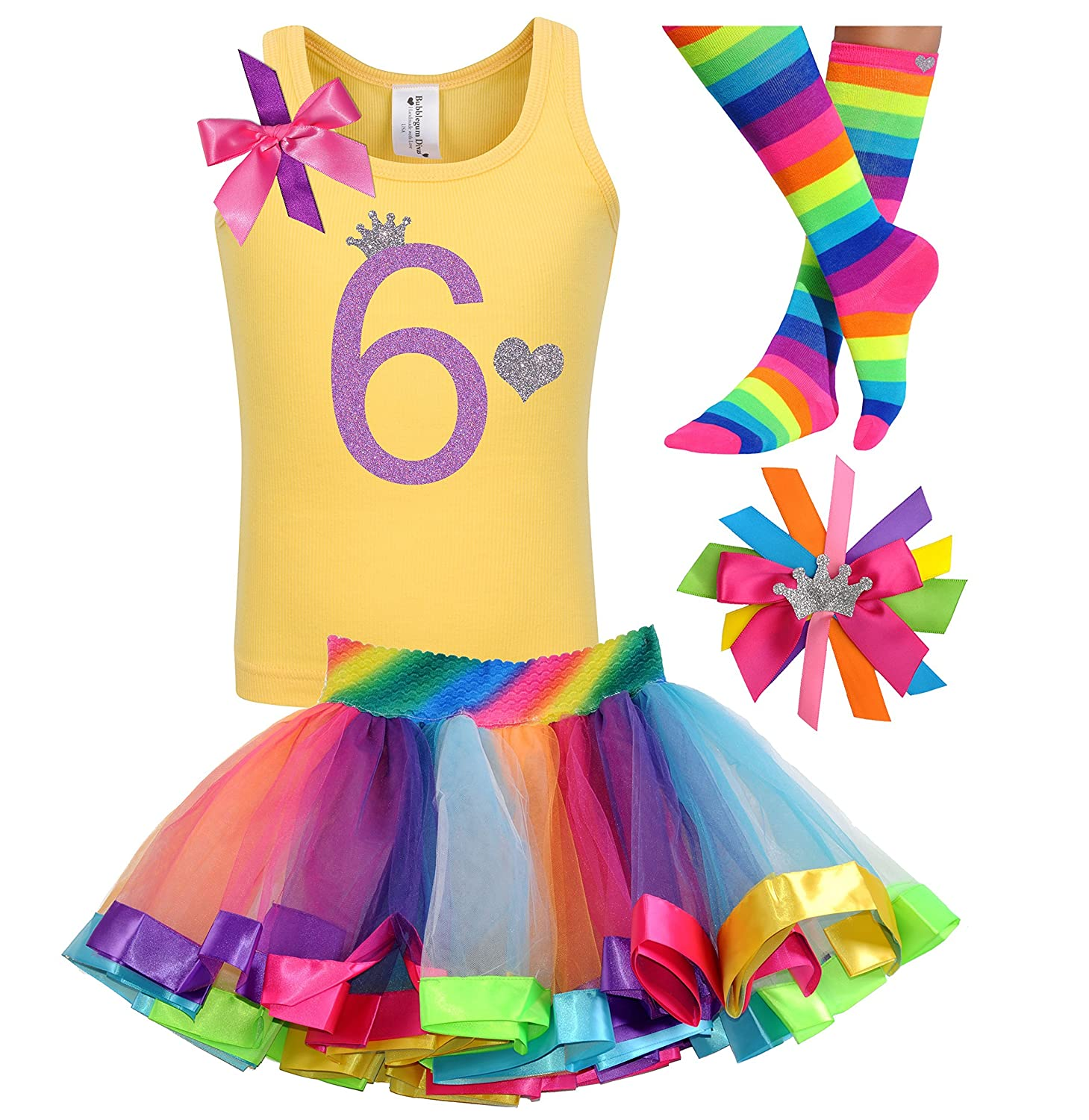6th Birthday Shirt Rainbow Tutu Girls Princess Party Outfit 4PC Gift Set Personalized Name 6 Years Old