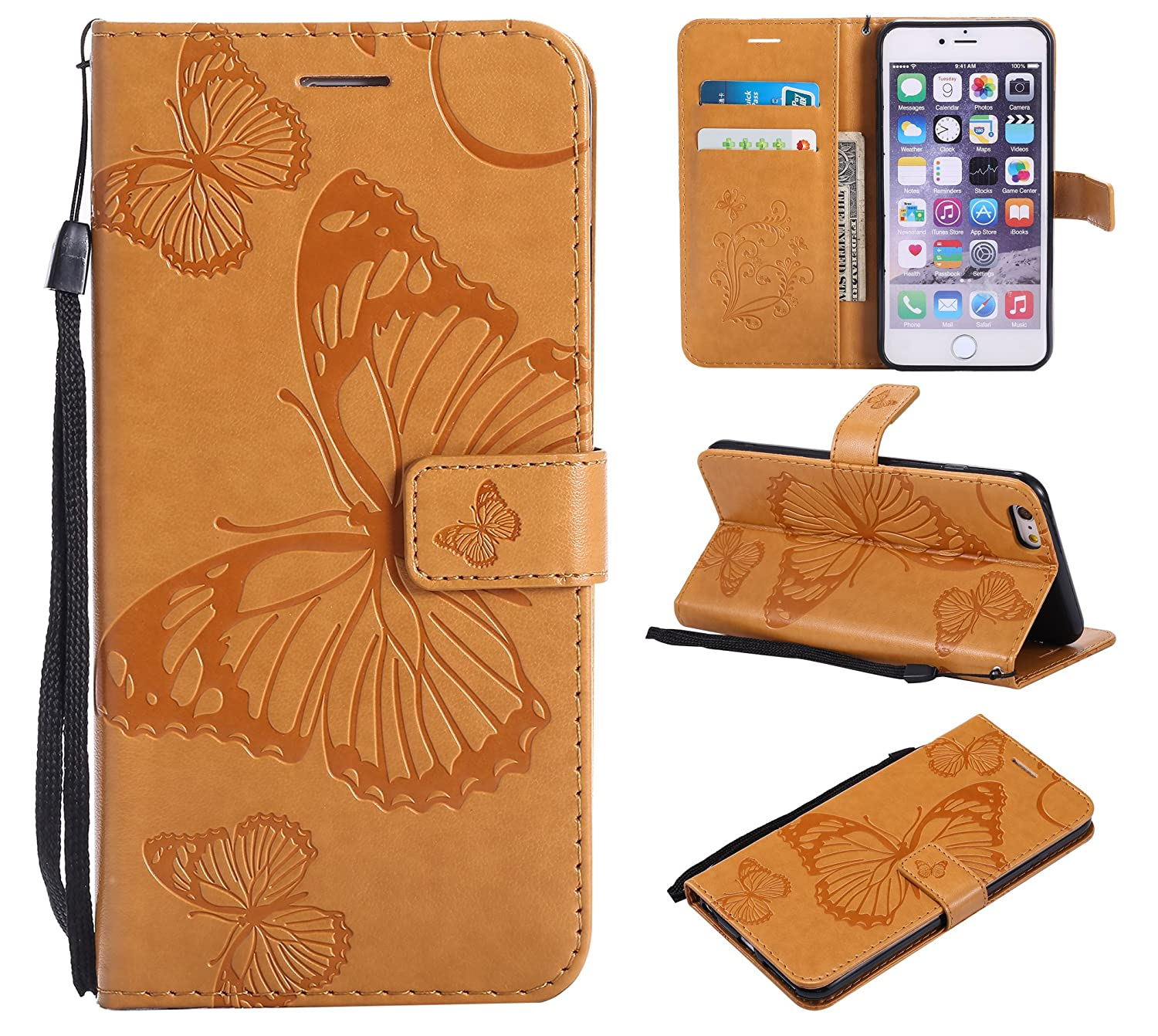 Eazyhurry Coque pour iPhone Cuir PU en Relief Motif Papillon Portefeuille Support Flip Coque Compatible iPhone SE/5/5S/6  6S/6  6S Plus/7/8/7plus/8plus/X