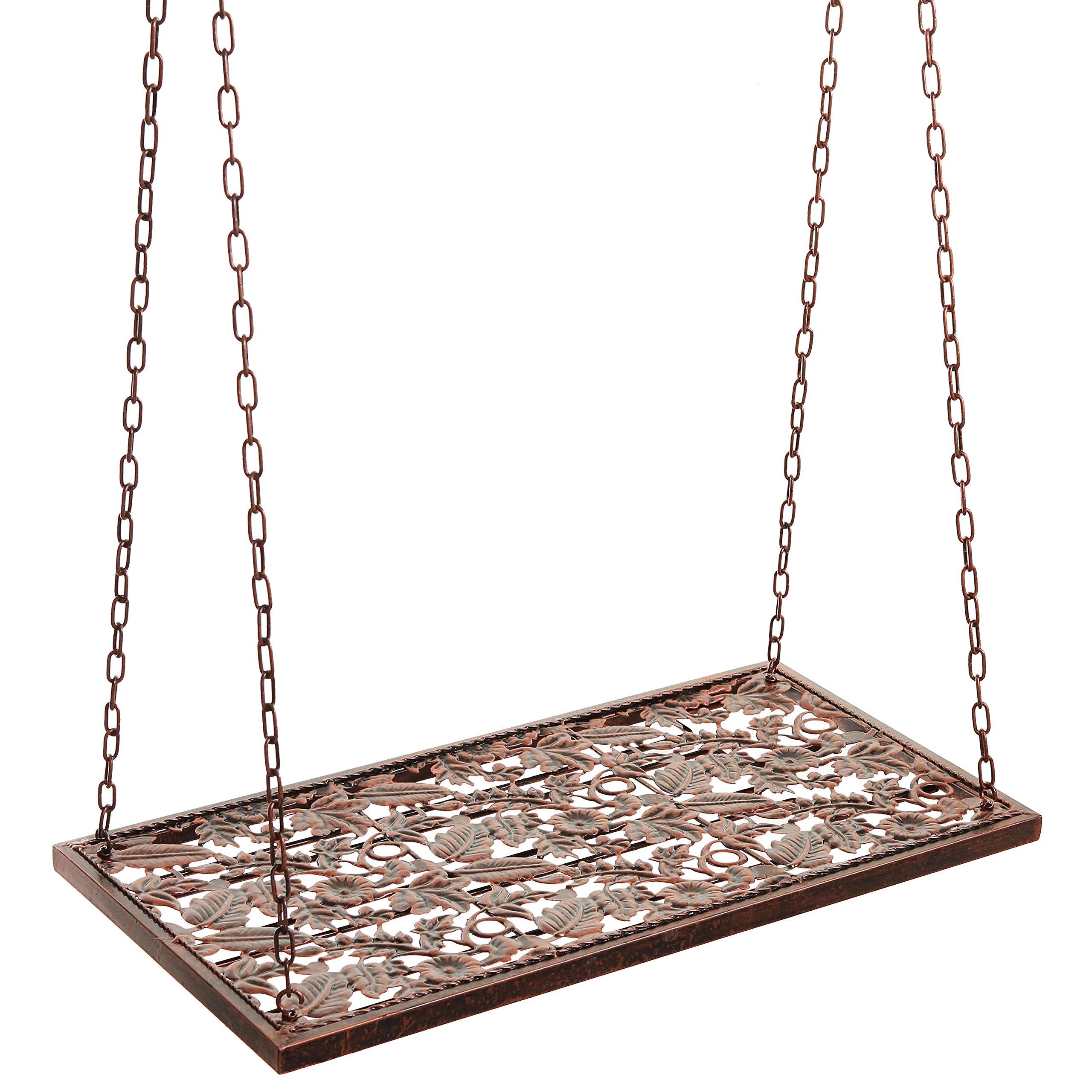 Vineyard Country Rustic Bronze Metal Ceiling Mounted Hanging Stemware Wine Glass Hanger Organizer Rack by MyGift (Image #4)