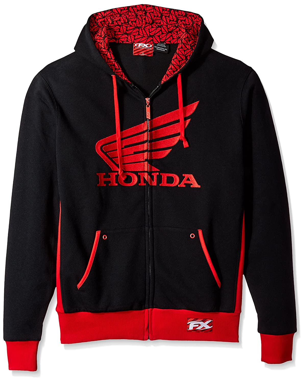 Black//Red, X-Large Factory Effex 15-88354 Honda Limit Hooded Lined Zip-up Sweatshirt
