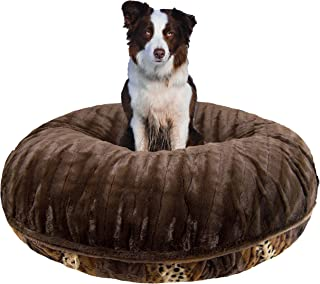 product image for BESSIE AND BARNIE Signature Godiva Brown/Wild Kingdom Extra Plush Faux Fur Bagel Pet/Dog Bed (Multiple Sizes)