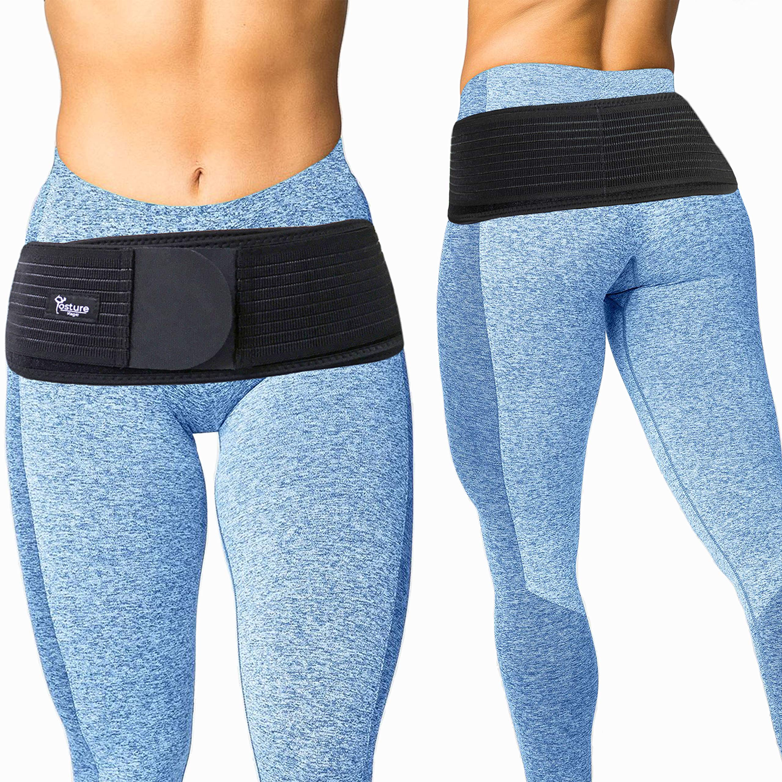 Posture Magic Sacroiliac SI Joint Support Belt for Women and Men - Reduce Sciatic, Pelvic, Lower Back and Leg Pain - Stabilize SI Joint - Hip Size Up to 45''