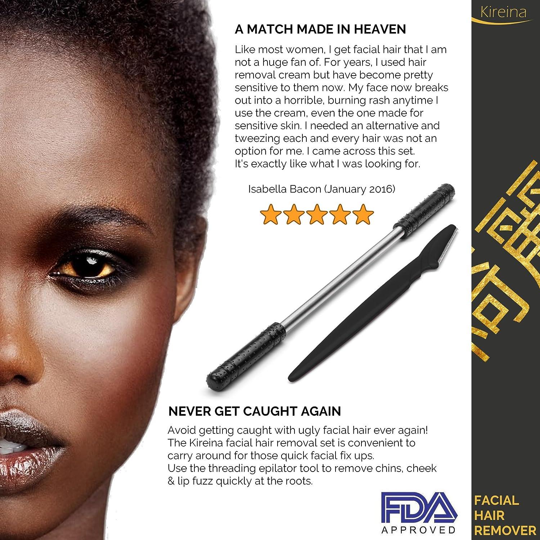 vello facial + cejas Razor - Juego de herramientas para roscar de acero inoxidable (Depiladora): Amazon.es: Belleza