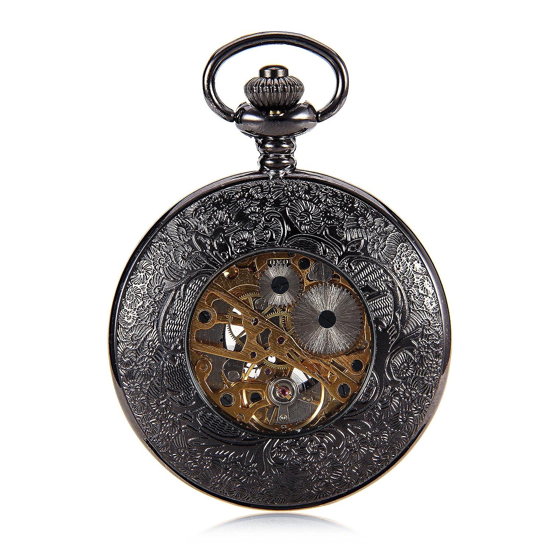 Amazon.com: Luxury Black Skeleton Steampunk Hollow Case Roman Number Hand Wind Mens Mechanical Pocket Watch Half Hunter reloj de bolsillo: Watches