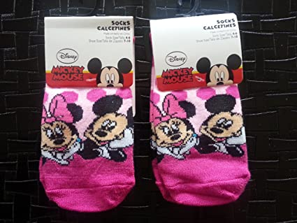 Minnie and Mickey Socks Size 4-6 (2 Pairs)