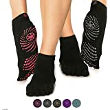 Gaiam Yoga Socks - Grippy Non Slip Sticky Full-Toe Grip Accessories for Women & Men