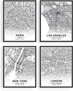 "Black and White Wall Art - by Haus and Hues | Set of 4 Black and White Pictures of City Wall Art | Paris Wall Decor, New York City Wall Art, London Art Print, Los Angeles City Art | 8"" x10"", Unframed"