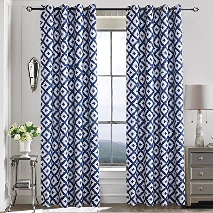 curtain damask medallions and photo chevron white paisley window shower navy beneficial curtains of blue striped blackout
