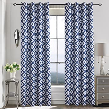 Elegant Navy Blue Curtains For Bedroom   Anady 2 Panel Blackout Geometric Blue/White  Curtains 84