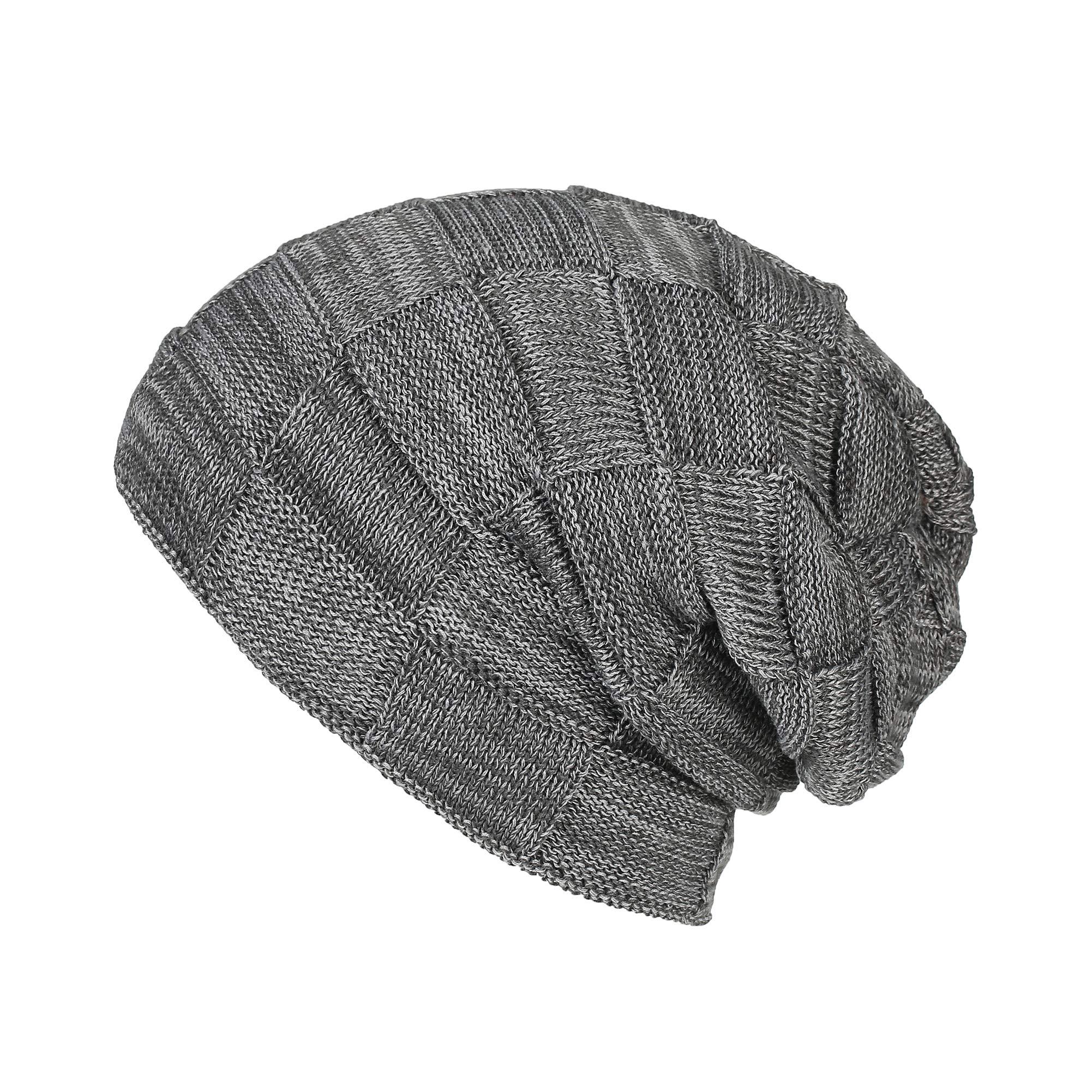 ZaYang Winter Knit Beanie Hat Fleece Lined Warm Soft Stretchy Slouchy Skully Ski Cap for Men & Women (Gray Lattice)