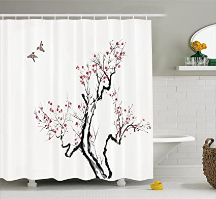 Ambesonne Japanese Shower Curtain Classic Asian Painting Style Artwork Of Flower Branches Blossom And Flying