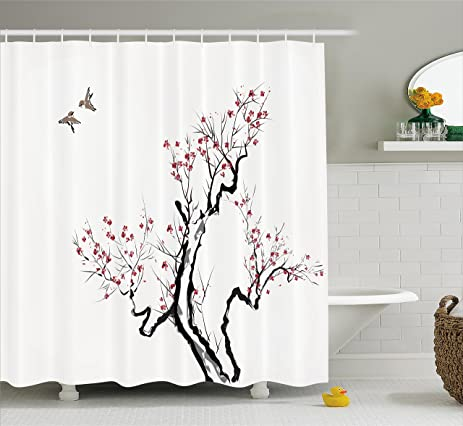 Japanese Shower Curtain By Ambesonne, Classic Asian Painting Style Artwork  Of Flower Branches Blossom And