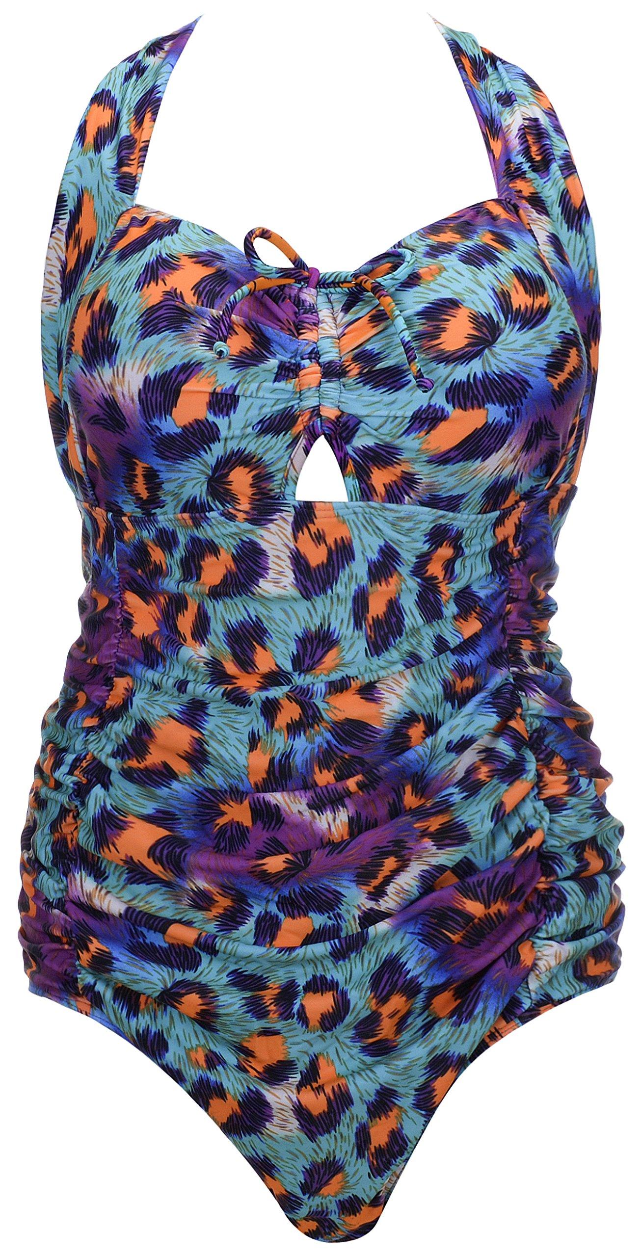 f9c0a8eb4a0 Galleon - QZUnique Women's Retro Vintage One Piece Swimwear Floral Monokinis  Plus Size Blue US XL