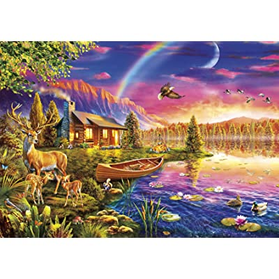 Buffalo Games - Lakeside Cabin - 300 Large Piece Jigsaw Puzzle: Toys & Games