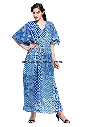 39254ab169b Image Unavailable. Image not available for. Color  HANDICRAFT-PALACE Boho  Long Indian Kaftan Plus Size Women Dress Caftan Hippy Casual Beach Dress