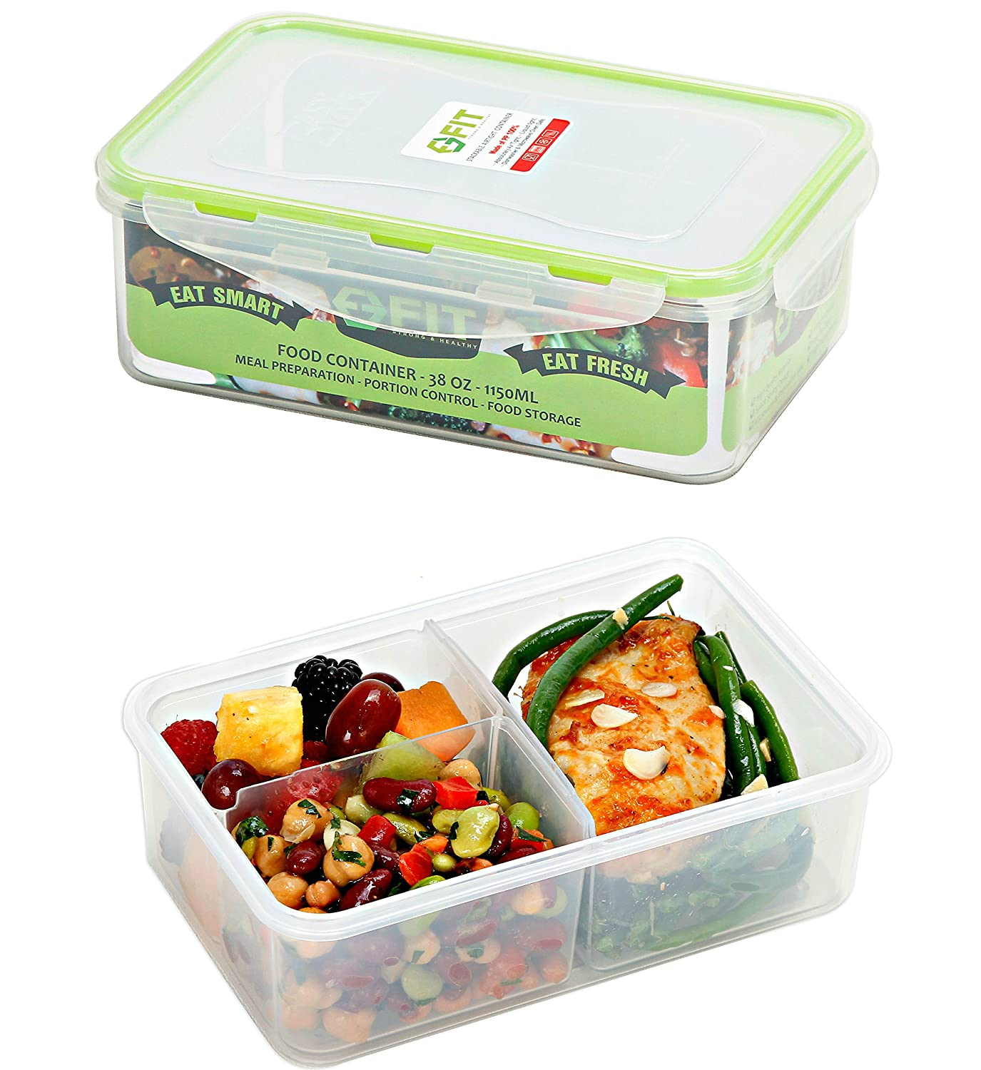 [2 Pack] Bento Lunch Box Meal Prep Containers (38 oz) - Food Storage Containers With Lids, Portion Control Containers, Divided Lunch Containers, Lunch Boxes for Adults and Kids, Leakproof