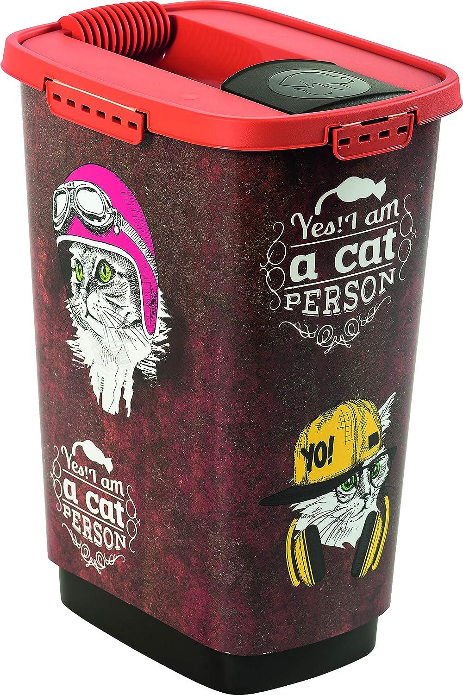Rotho - Caja para Comida de Animales de plástico (PP) con diseño de Gato, Plástico (PP) sin BPA, Color marrón con diseño de Gato, 33 x 25 x 46.3 cm