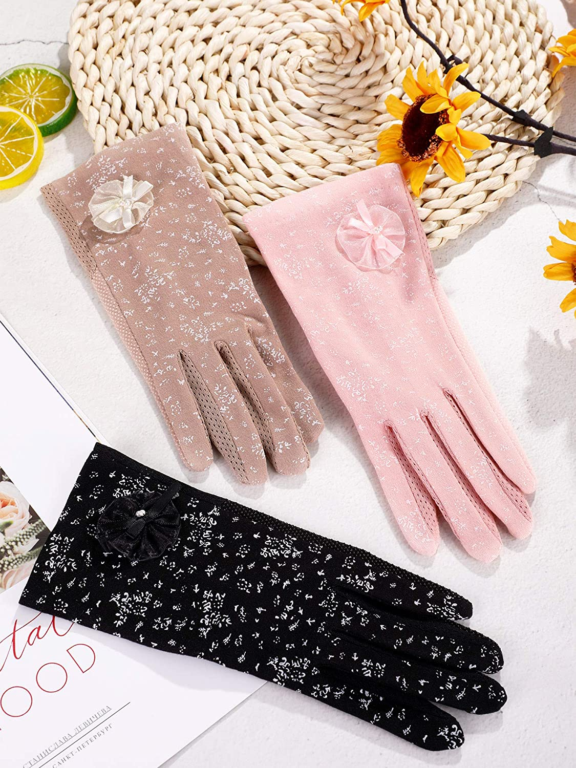 3 Pairs Women Sunblock Gloves Non-slip UV Protection Driving Gloves Spring Summer Outdoor Gloves for Women and Girls