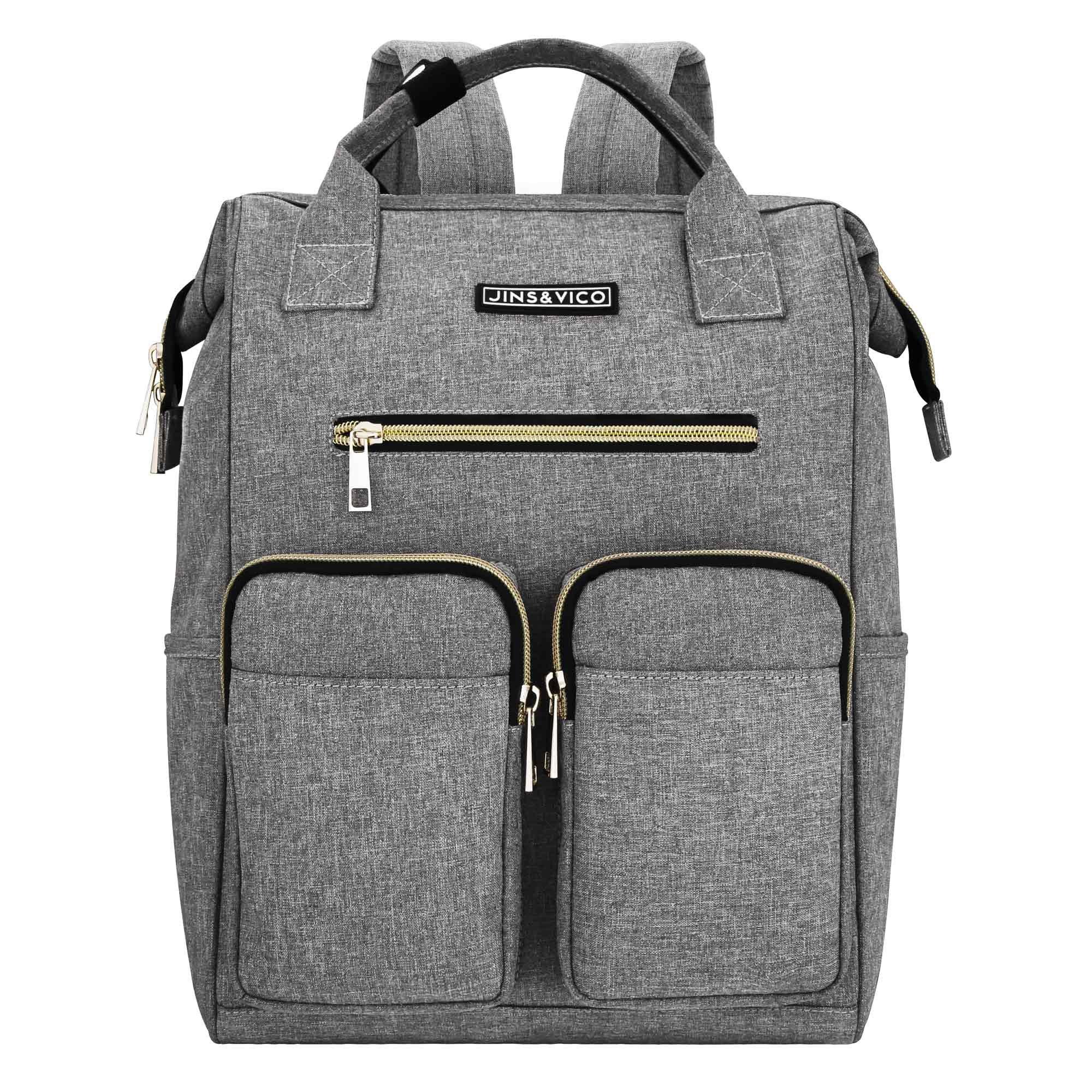 JINS & VICO Laptop Backpacks, Wide Open Professional Business Laptop Bag Large Bookbag Handbag Casual Daypacks for School/College/Business, Grey
