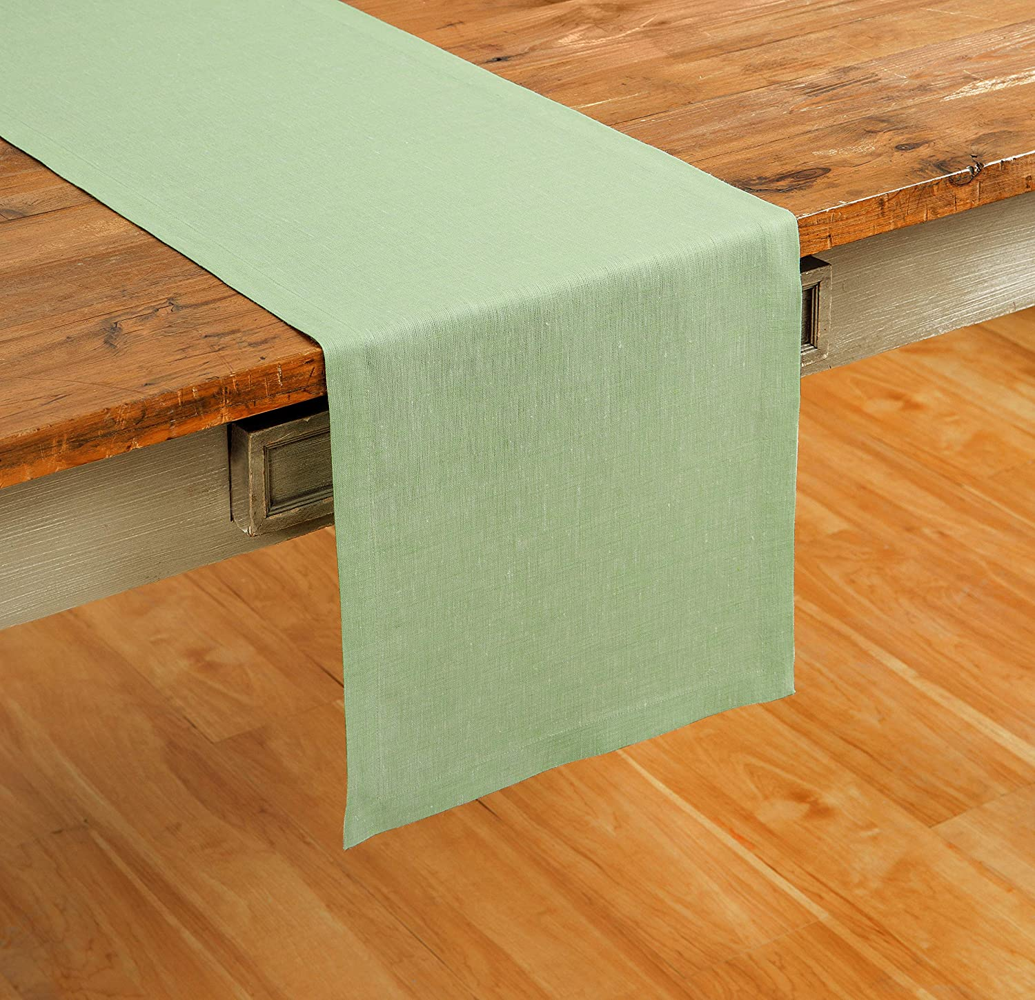 Solino Home 100% Pure Linen Table Runner – 14 x 60 Inch Athena, Handcrafted from European Flax, Natural Fabric Runner – Green