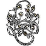 AeraVida Timeless Elegance Marcasite Style Iron Pyrite Stone Flower Vine .925 Sterling Silver Ring