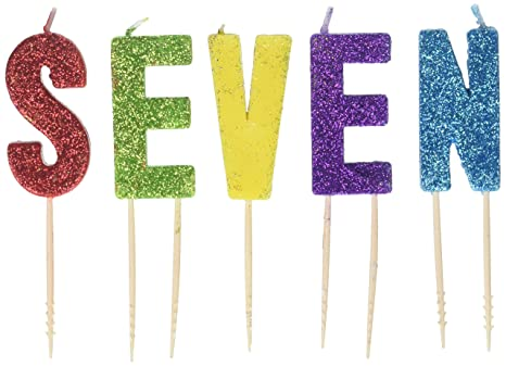 Amazon.com: Glittered cumpleaños púa Juego de velas de ...