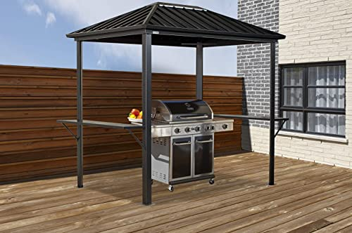 Sojag 6 x 8 x 8 Dakota Outdoor Gazebo Backyard Shade and Grilling Structure, Dark Brown